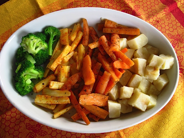 A Veritable Rainbow of Broccoli, Parsnips, Carrots & Celery Root
