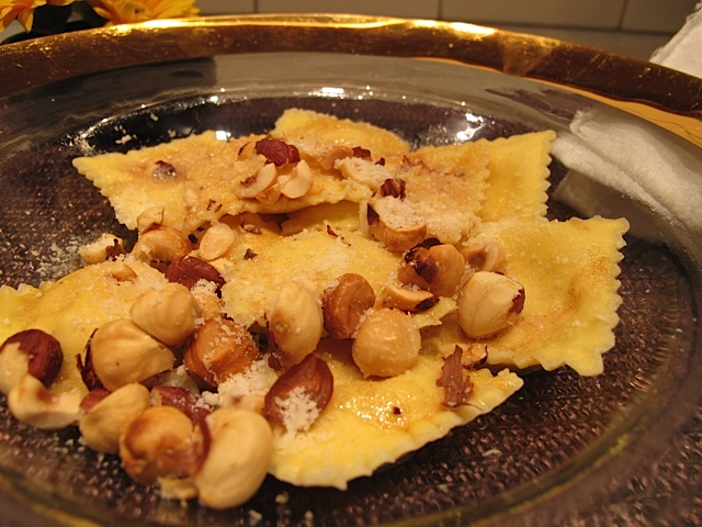 Beautiful Butternut Squash Ravioli with Roasted Hazlenuts
