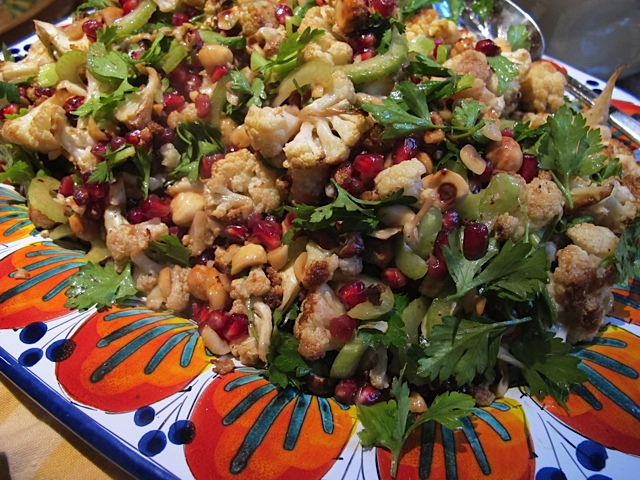 Cauliflower with Pomegranate Seeds, Parsley and Hazelnuts