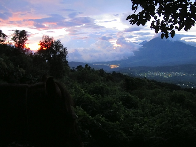 Sunset over the Picaya Volcano