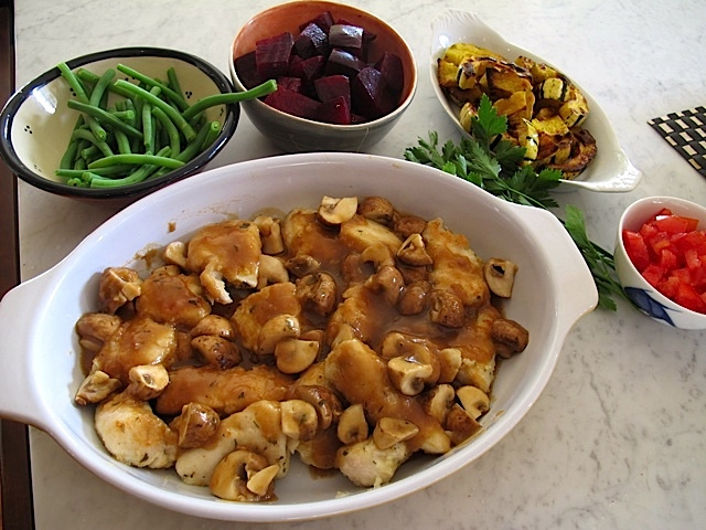 Chicken Marsala Accompanied by Ruby Beets, Steamed Green Beans and Oven-Roasted Carrots & Parsnips