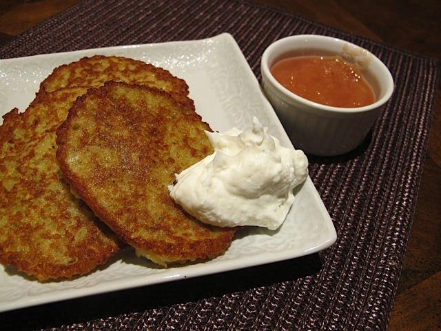 Freshly Made Latkes with Sour Cream & Homemade Applesauce