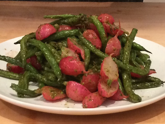 Oven Roasted Radishes & Green Beans
