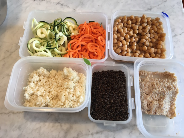 Chopped veg, cooked beans, cauliflower, lentils
