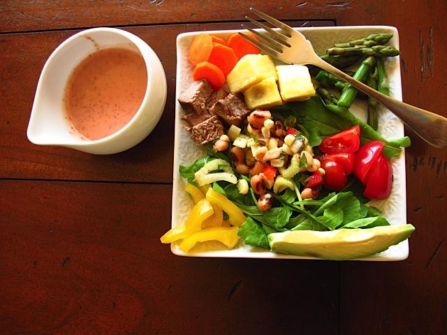 Sumptuous Salad with Rhubarb Vinaigrette