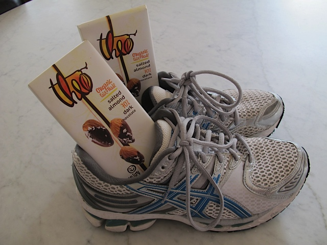 Well-worn exercise shoes and well-loved chocolate