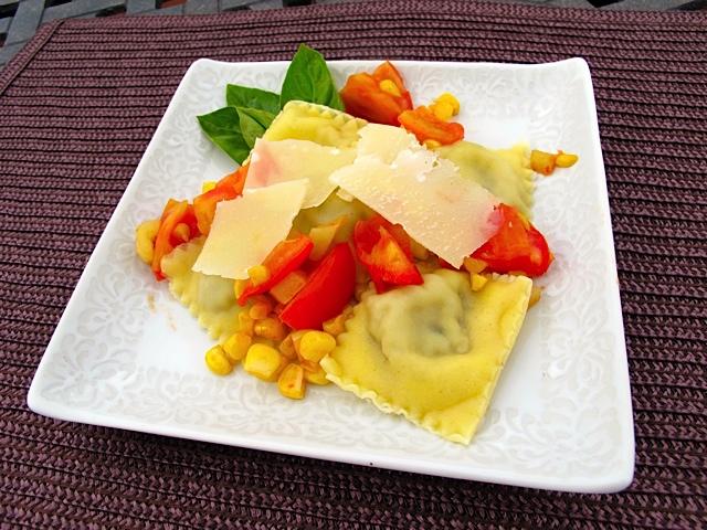 Mushroom Ravioli with Freshly Sauteed Corn & Tomatoes