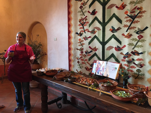 Chef Meadow Linn explaining all the dishes on the buffet before we ate.