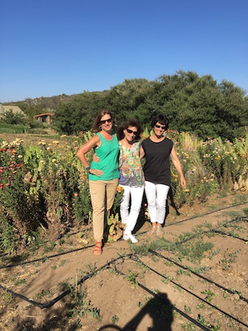 Three sisters touring the organic farm - viewing all the produce used at the ranch and in this class!
